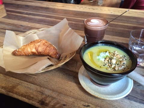 Meal #1 - Cauliflower soup, cheese croissant, mocha