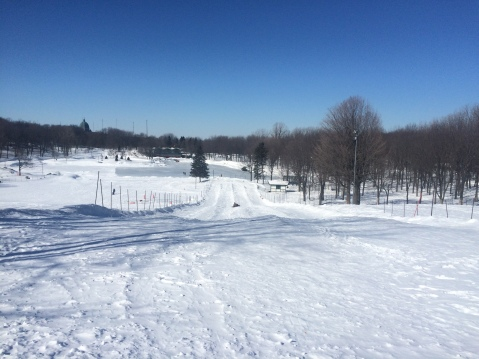 Tobogganing runs by Beaver Lake